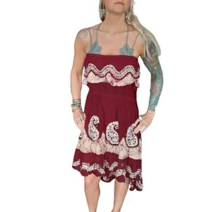 Tie dye, embroidered, paisley floral dress, OSFM